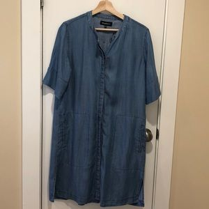 Denim chambray button-front tunic dress